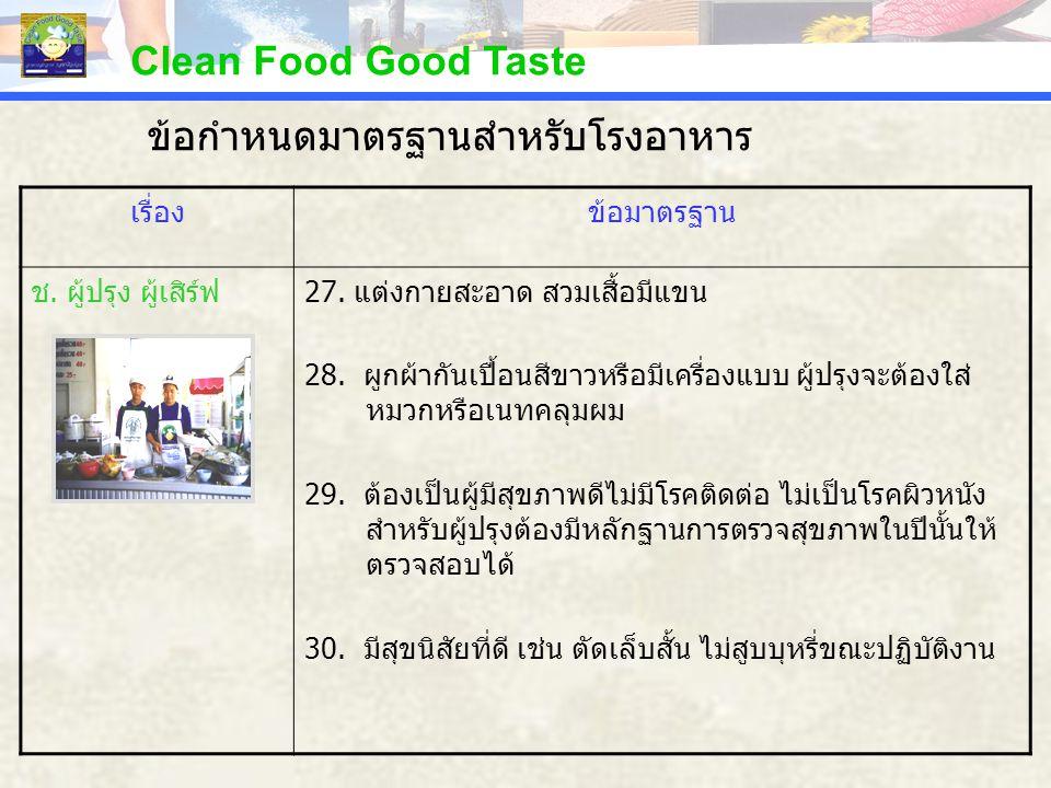 Clean Food Good Taste เรื่องข้อมาตรฐาน ช. ผู้ปรุง ผู้เสิร์ฟ27. แต่งกายสะอาด สวมเสื้อมีแขน 28. ผูกผ้ากันเปื้อนสีขาวหรือมีเครื่องแบบ ผู้ปรุงจะต้องใส่ หม