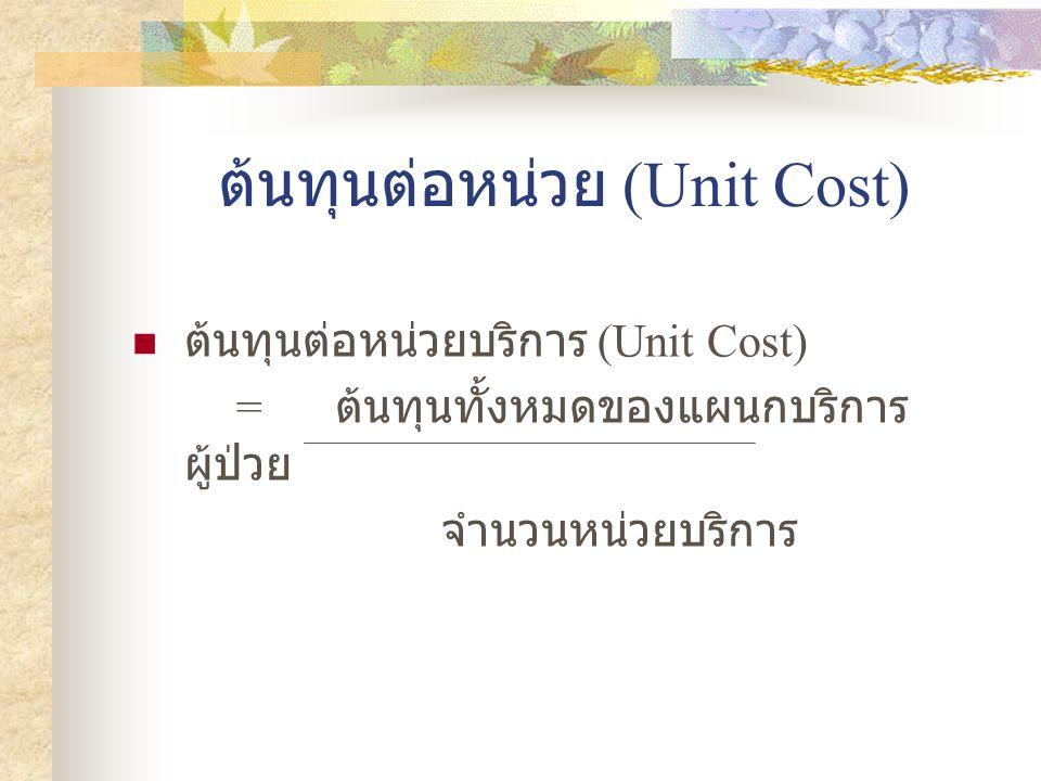 ต้นทุนต่อหน่วย (Unit Cost)  ต้นทุนต่อหน่วยบริการ (Unit Cost) = ต้นทุนทั้งหมดของแผนกบริการ ผู้ป่วย จำนวนหน่วยบริการ