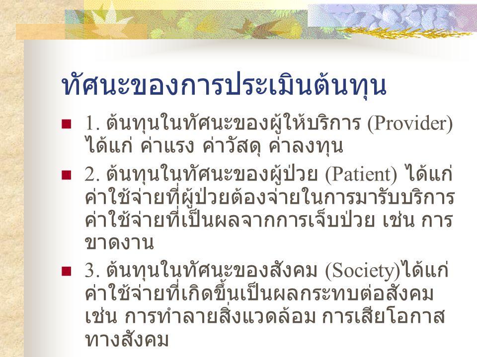 ทัศนะของการประเมินต้นทุน  1. ต้นทุนในทัศนะของผู้ให้บริการ (Provider) ได้แก่ ค่าแรง ค่าวัสดุ ค่าลงทุน  2. ต้นทุนในทัศนะของผู้ป่วย (Patient) ได้แก่ ค่