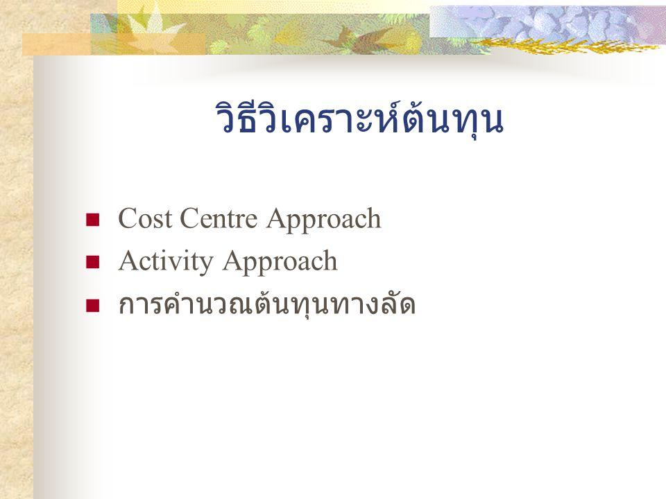 วิธีวิเคราะห์ต้นทุน  Cost Centre Approach  Activity Approach  การคำนวณต้นทุนทางลัด