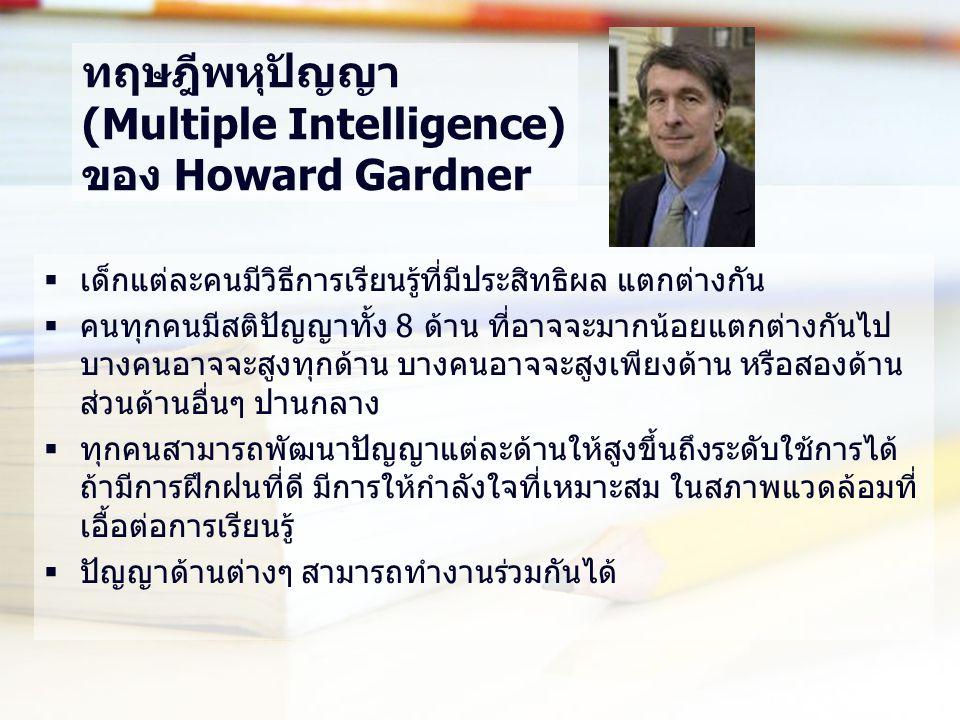ทฤษฎีพหุปัญญา (Multiple Intelligence) ของ Howard Gardner  เด็กแต่ละคนมีวิธีการเรียนรู้ที่มีประสิทธิผล แตกต่างกัน  คนทุกคนมีสติปัญญาทั้ง 8 ด้าน ที่อา