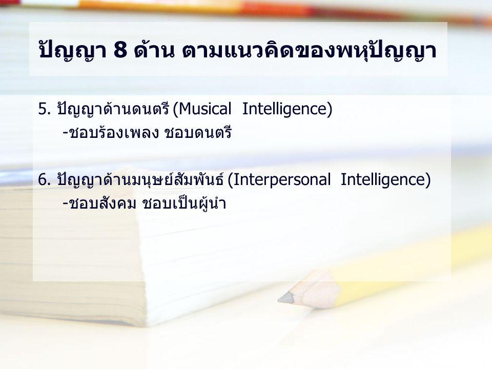 ปัญญา 8 ด้าน ตามแนวคิดของพหุปัญญา 5. ปัญญาด้านดนตรี (Musical Intelligence) -ชอบร้องเพลง ชอบดนตรี 6. ปัญญาด้านมนุษย์สัมพันธ์ (Interpersonal Intelligenc