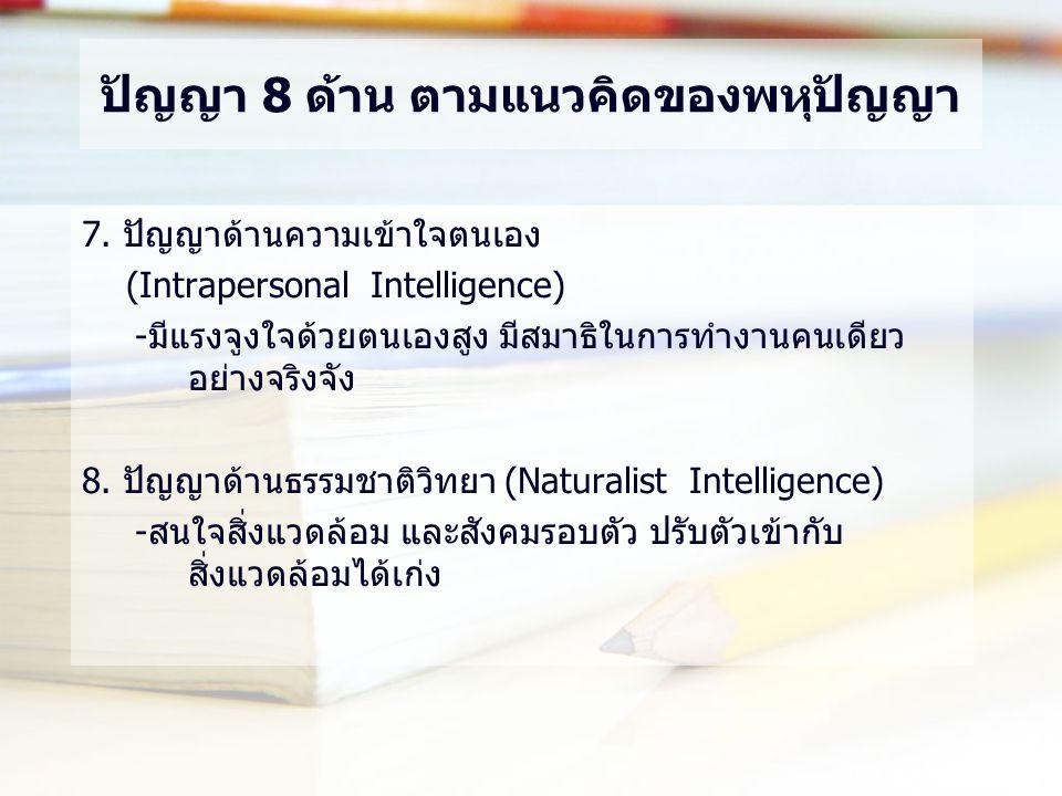 ปัญญา 8 ด้าน ตามแนวคิดของพหุปัญญา 7. ปัญญาด้านความเข้าใจตนเอง (Intrapersonal Intelligence) -มีแรงจูงใจด้วยตนเองสูง มีสมาธิในการทำงานคนเดียว อย่างจริงจ