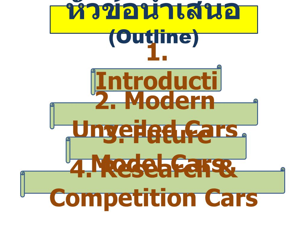1.Introduct ion Debuted after 2005 • Concepts of the cars : Type, Inspiration, Technology etc.