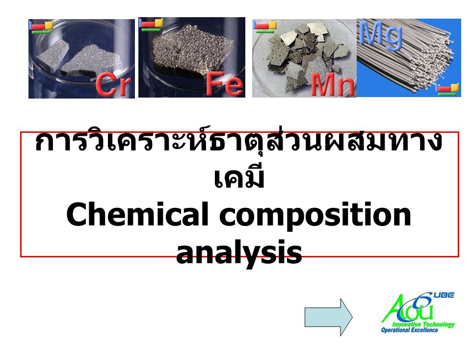 วิธีการวิเคราะห์ •XRF (X-ray fluorescence)XRF (X-ray fluorescence) •OES (Optical emission spectrometer)OES (Optical emission spectrometer) •XRD (X-ray diffraction)XRD (X-ray diffraction) •EDS/EDX (Energy dispersive spectrometer/ Energy dispersive X-ray analysis)EDS/EDX (Energy dispersive spectrometer/ Energy dispersive X-ray analysis)