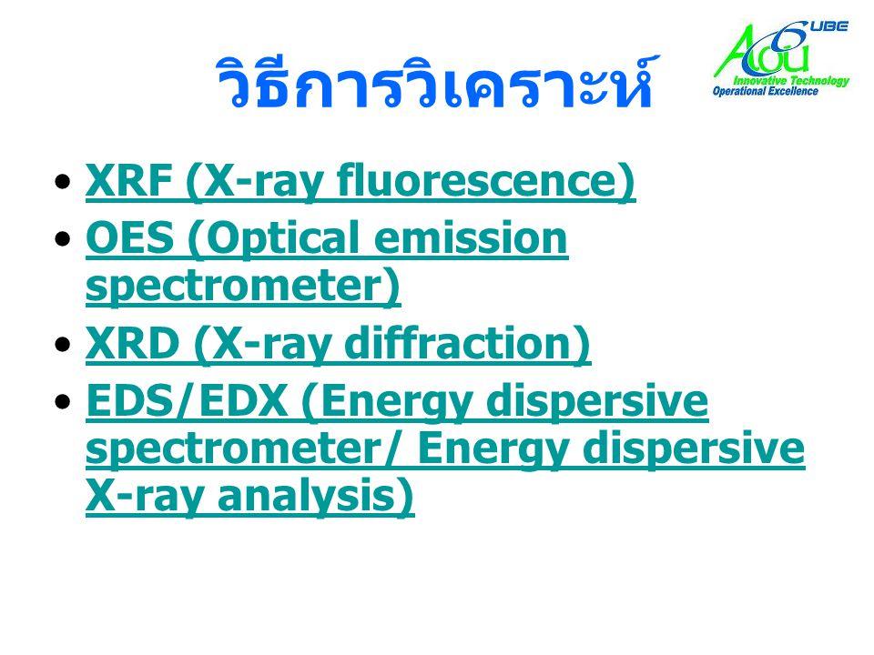 วิธีการวิเคราะห์ •XRF (X-ray fluorescence)XRF (X-ray fluorescence) •OES (Optical emission spectrometer)OES (Optical emission spectrometer) •XRD (X-ray