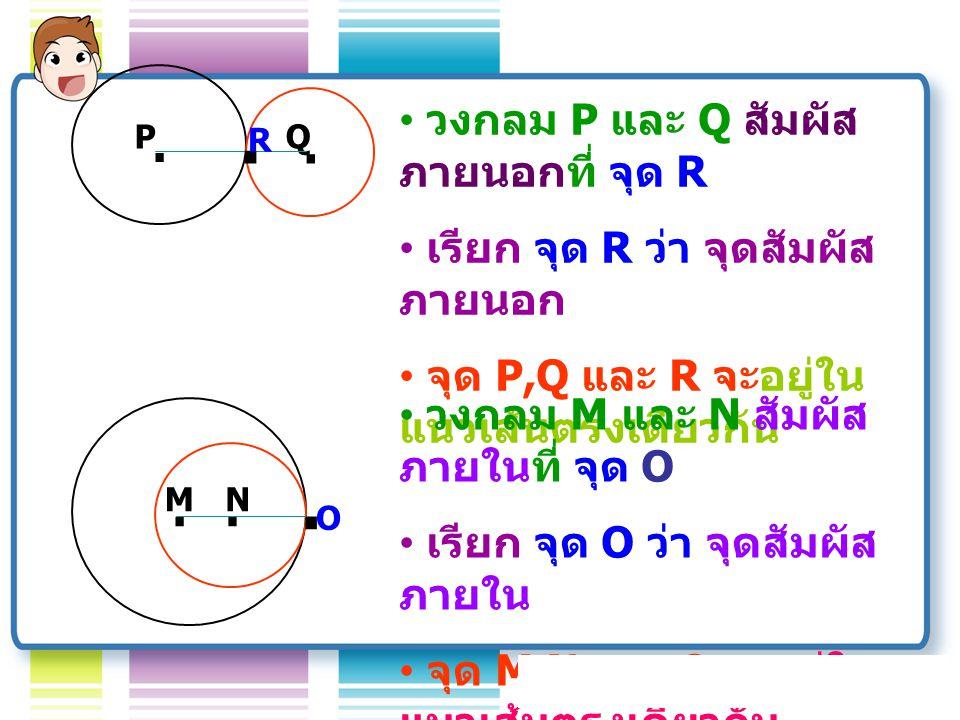 การตัดกัน หรือ สัมผัสกัน ของ วงกลม.A B.
