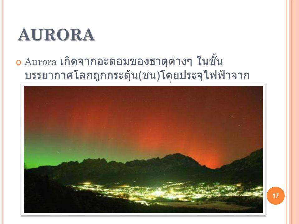 AURORA Aurora Aurora เกิดจากอะตอมของธาตุต่างๆ ในชั้น บรรยากาศโลกถูกกระตุ้น ( ชน ) โดยประจุไฟฟ้าจาก พายุสุริยะทำให้เกิดการปล่อยคลื่นรังสีออกมา ในช่วงคลื่นที่ตาเห็นได้ 17