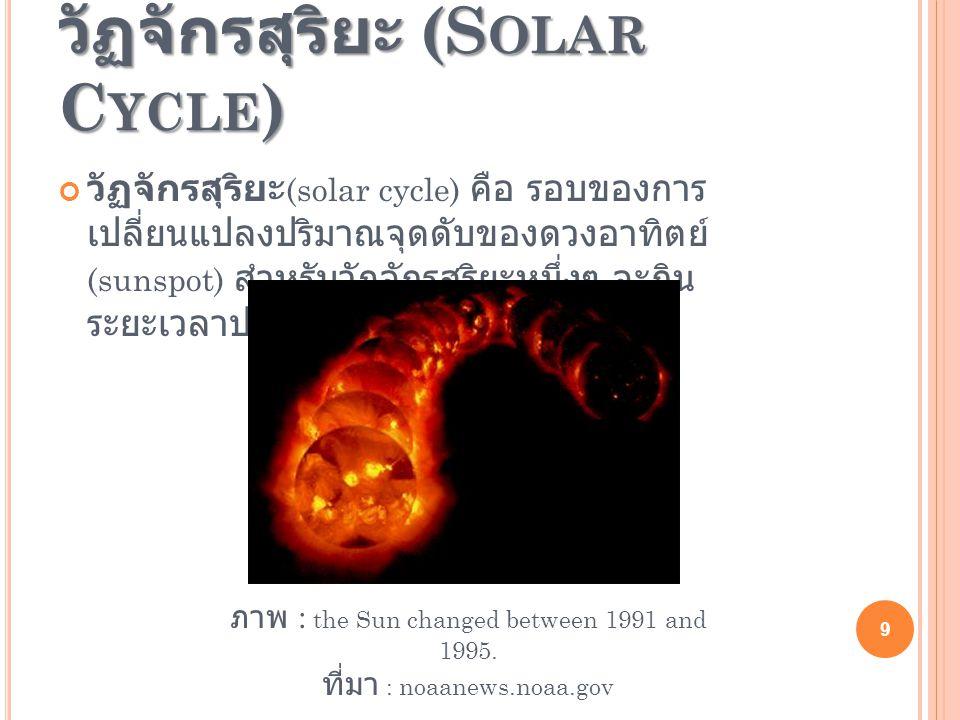 วัฏจักรสุริยะ (S OLAR C YCLE ) วัฏจักรสุริยะ (solar cycle) คือ รอบของการ เปลี่ยนแปลงปริมาณจุดดับของดวงอาทิตย์ (sunspot) สำหรับวัฏจักรสุริยะหนึ่งๆ จะกิน ระยะเวลาประมาณ 11 ปี ภาพ : the Sun changed between 1991 and 1995.
