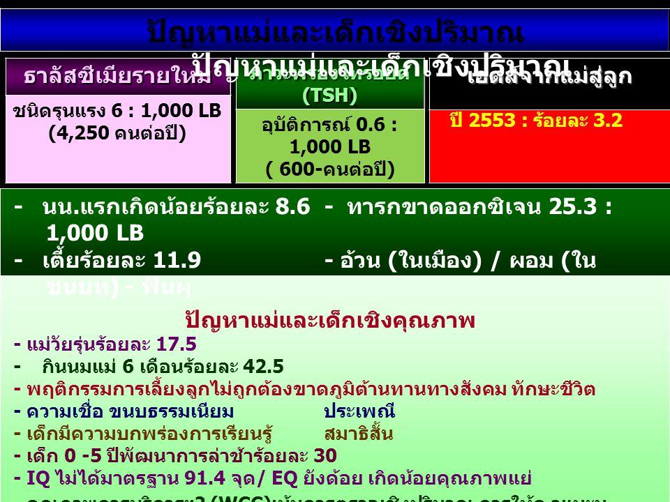 ธาลัสซีเมียรายใหม่ ชนิดรุนแรง 6 : 1,000 LB (4,250 คนต่อปี) ภาวะพร่องไทรอยด์ (TSH) อุบัติการณ์ 0.6 : 1,000 LB ( 600-คนต่อปี) เอดส์จากแม่สู่ลูก • ปี 255