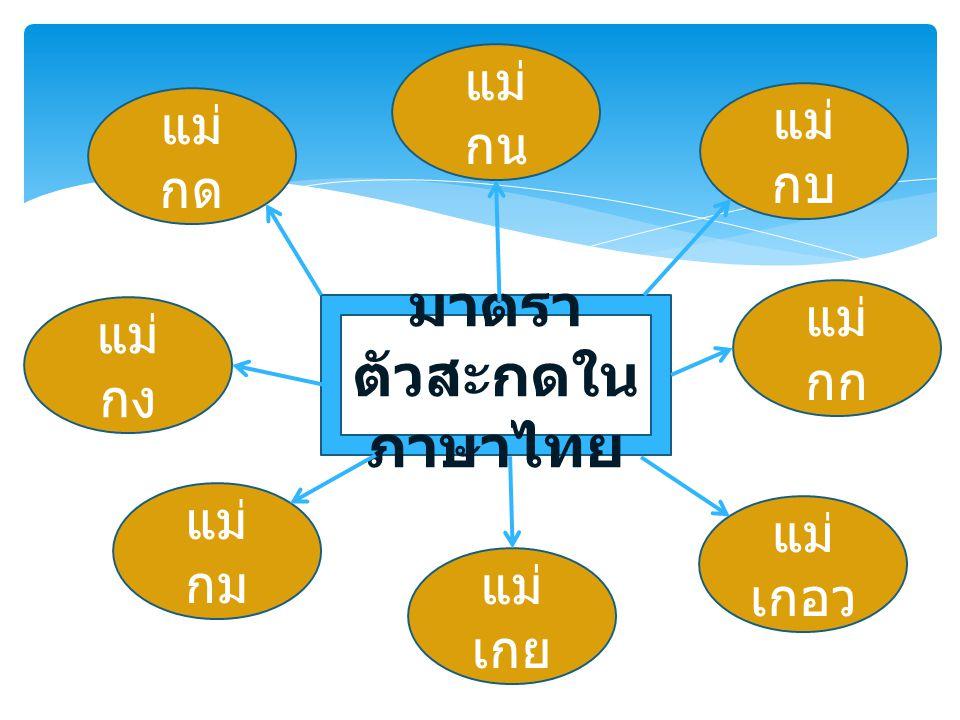 มาตรา ตัวสะกดใน ภาษาไทย แม่ กด แม่ กก แม่ กง แม่ กม แม่ เกย แม่ เกอว แม่ กบ แม่ กน