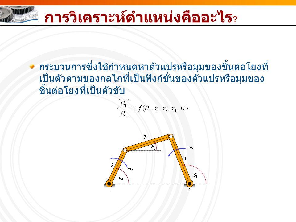 การวิเคราะห์ตำแหน่งเชิง พีชคณิต ผลเฉลยรูปแบบปิด (Closed-form solution) ผลเฉลยแบบทำซ้ำ (Iterative solution)