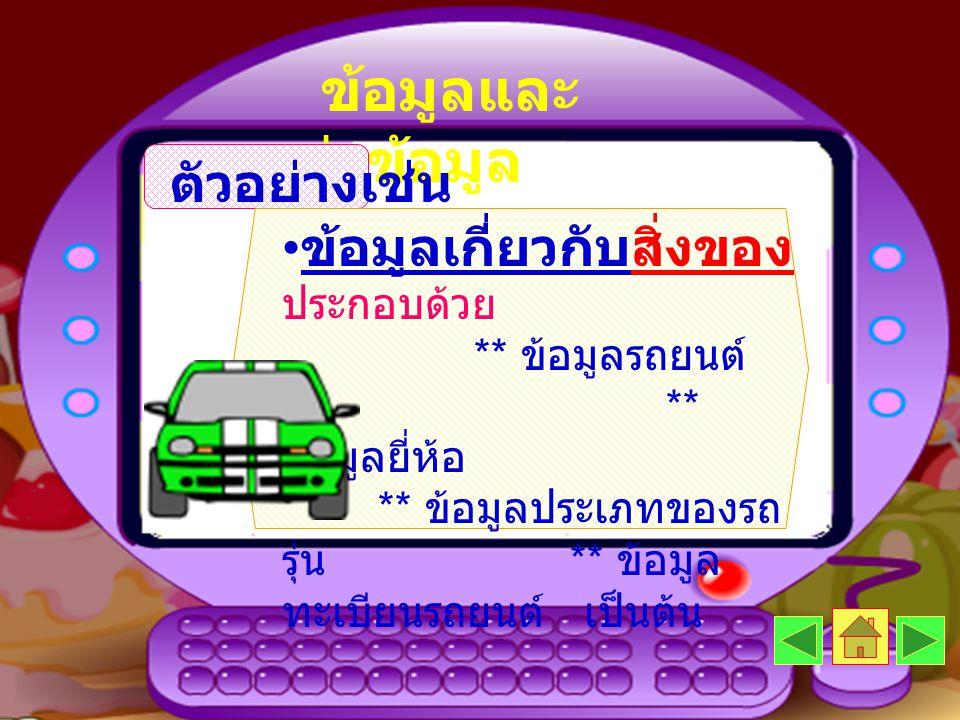 ข้อมูลและ แหล่งข้อมูล ตัวอย่างเช่น • ข้อมูลเกี่ยวกับสิ่งของ ประกอบด้วย ** ข้อมูลรถยนต์ ** ข้อมูลยี่ห้อ ** ข้อมูลประเภทของรถ รุ่น ** ข้อมูล ทะเบียนรถยน