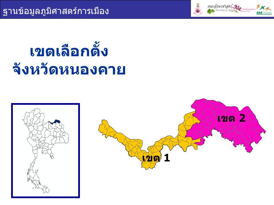 ฐานข้อมูลภูมิศาสตร์การเมือง เขตเลือกตั้ง จังหวัดหนองคาย เขต 1 เขต 2