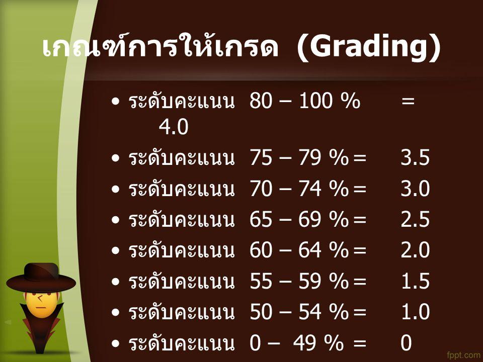 เกณฑ์การให้เกรด (Grading) • ระดับคะแนน 80 – 100 %= 4.0 • ระดับคะแนน 75 – 79 %=3.5 • ระดับคะแนน 70 – 74 %=3.0 • ระดับคะแนน 65 – 69 %=2.5 • ระดับคะแนน 60 – 64 %=2.0 • ระดับคะแนน 55 – 59 %=1.5 • ระดับคะแนน 50 – 54 %=1.0 • ระดับคะแนน 0 – 49 %=0