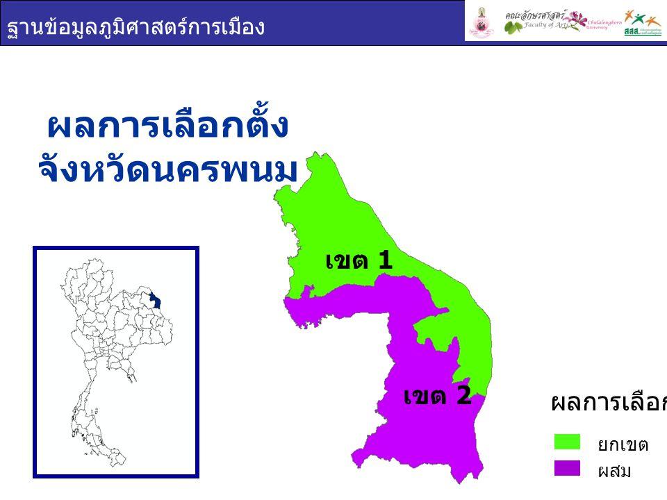 ฐานข้อมูลภูมิศาสตร์การเมือง เขต 1 เขต 2 ผลการเลือกตั้ง จังหวัดนครพนม ยกเขต ผสม ผลการเลือกตั้ง