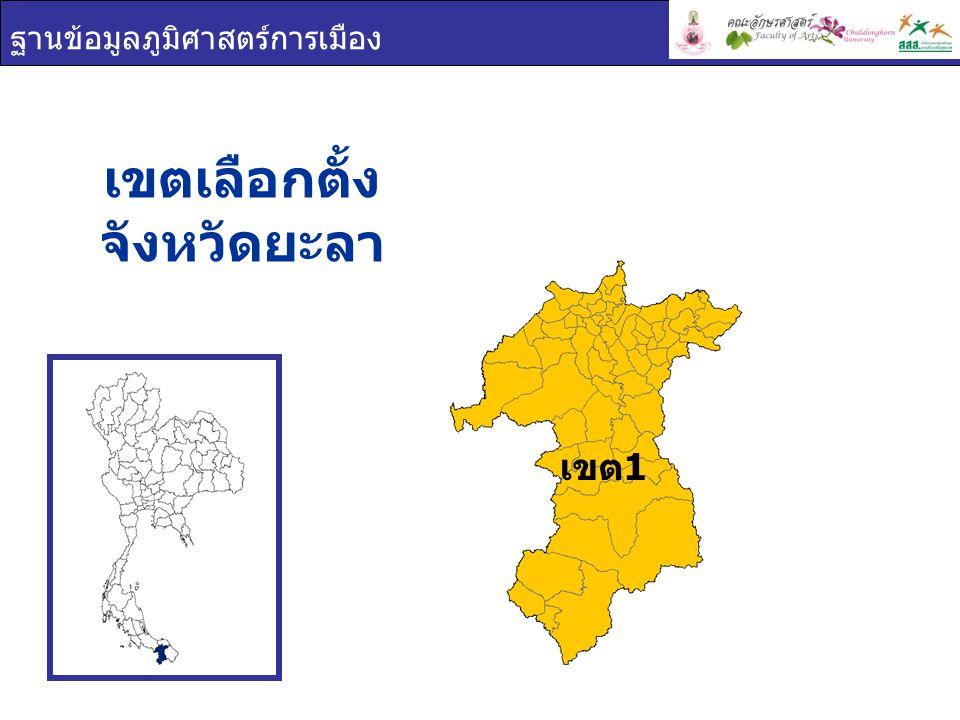 ฐานข้อมูลภูมิศาสตร์การเมือง เขตเลือกตั้ง จังหวัดยะลา เขต 1