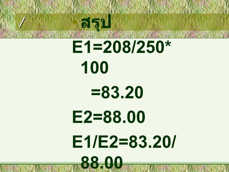 / • สรุป E1=208/250* 100 =83.20 E2=88.00 E1/E2=83.20/ 88.00