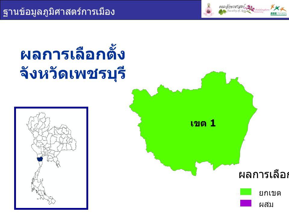ฐานข้อมูลภูมิศาสตร์การเมือง ผลการเลือกตั้ง จังหวัดเพชรบุรี ยกเขต ผสม ผลการเลือกตั้ง เขต 1