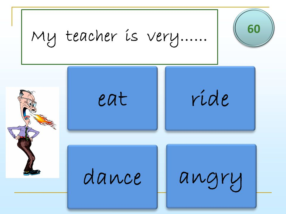 My teacher is very…… 60 eat ride dance angry