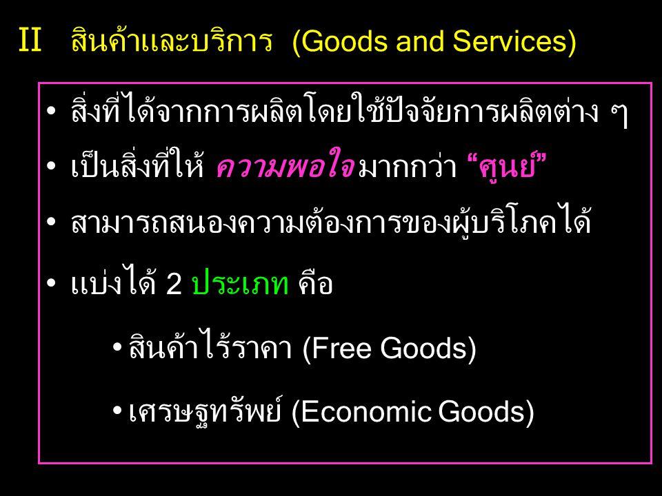 II สินค้าและบริการ (Goods and Services) •สิ่งที่ได้จากการผลิตโดยใช้ปัจจัยการผลิตต่าง ๆ •เป็นสิ่งที่ให้ ความพอใจ มากกว่า ศูนย์ •สามารถสนองความต้องการของผู้บริโภคได้ •แบ่งได้ 2 ประเภท คือ •สินค้าไร้ราคา (Free Goods) •เศรษฐทรัพย์ (Economic Goods)