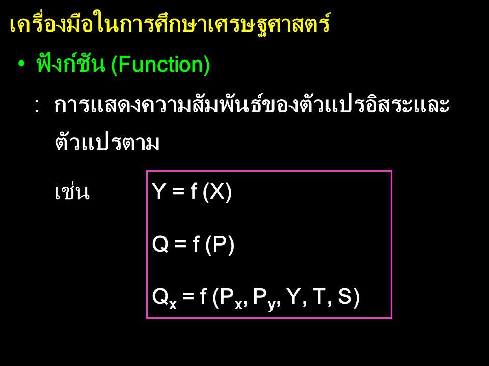 เครื่องมือในการศึกษาเศรษฐศาสตร์ •ฟังก์ชัน (Function) : การแสดงความสัมพันธ์ของตัวแปรอิสระและ ตัวแปรตาม Y = f (X) Q = f (P) Q x = f (P x, P y, Y, T, S) เช่น