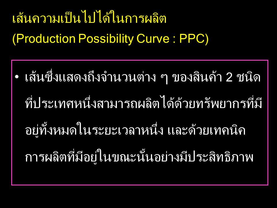 เส้นความเป็นไปได้ในการผลิต (Production Possibility Curve : PPC) •เส้นซึ่งแสดงถึงจำนวนต่าง ๆ ของสินค้า 2 ชนิด ที่ประเทศหนึ่งสามารถผลิตได้ด้วยทรัพยากรที่มี อยู่ทั้งหมดในระยะเวลาหนึ่ง และด้วยเทคนิค การผลิตที่มีอยู่ในขณะนั้นอย่างมีประสิทธิภาพ