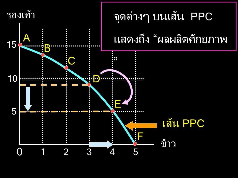 รองเท้า ข้าว 5 15 10 345 1 2 0 A B C D E F จุดต่างๆ บนเส้น PPC แสดงถึง ผลผลิตศักยภาพ เส้น PPC