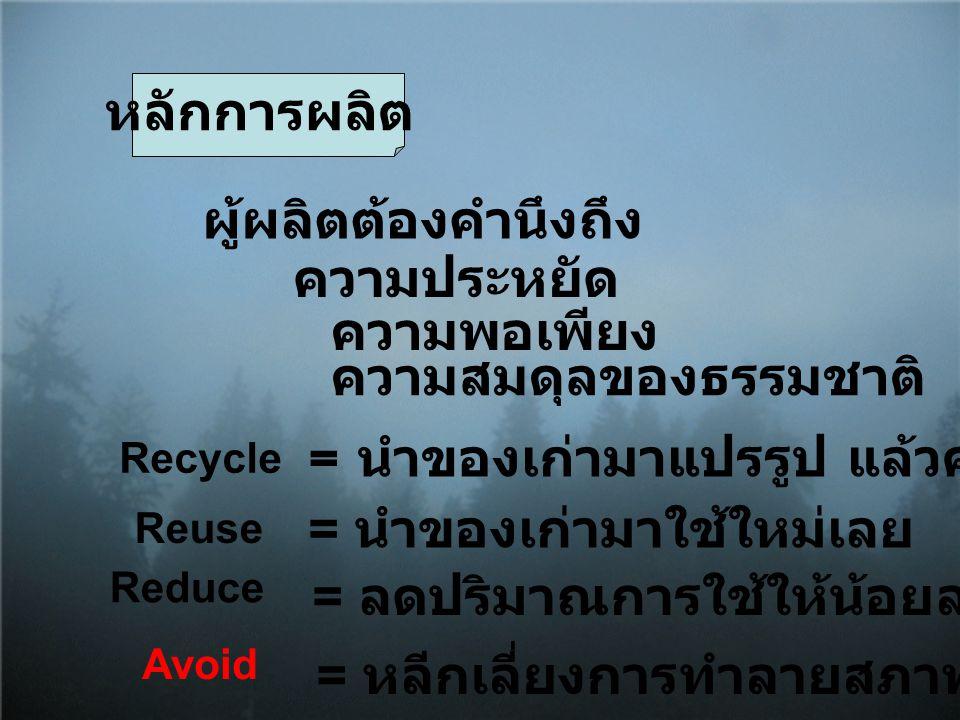 หลักการผลิต ผู้ผลิตต้องคำนึงถึง ความประหยัด ความพอเพียง ความสมดุลของธรรมชาติ Recycle = นำของเก่ามาแปรรูป แล้วค่อยมาใช้ใหม่ Reuse = นำของเก่ามาใช้ใหม่เ