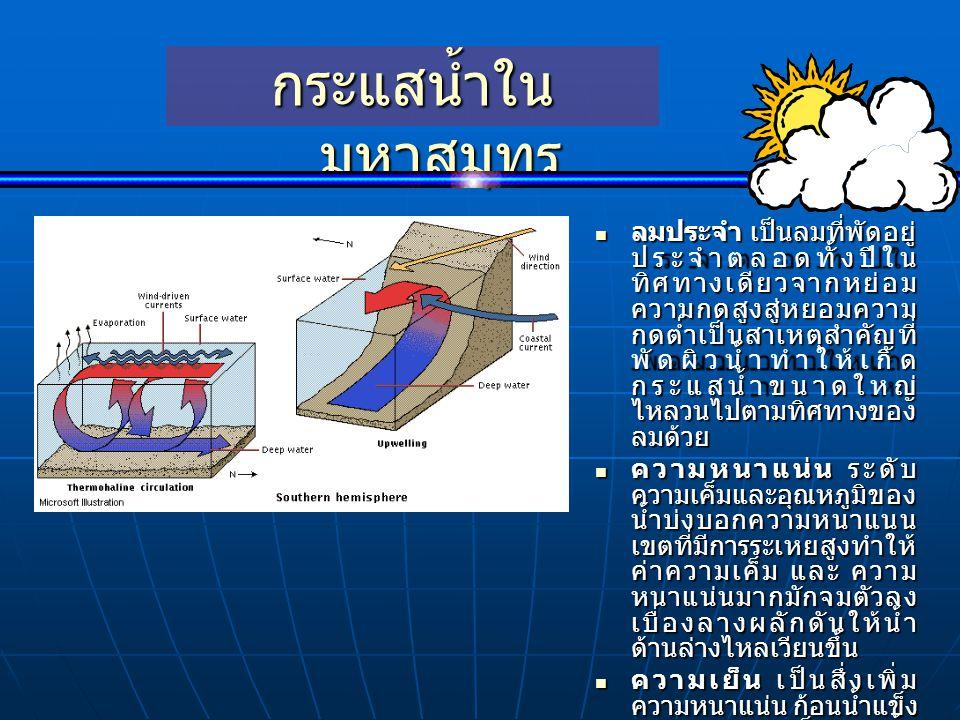  ลมประจำ เป็นลมที่พัดอยู่ ประจำตลอดทั้งปีใน ทิศทางเดียวจากหย่อม ความกดสูงสู่หยอมความ กดต่ำเป็นสาเหตุสำคัญที่ พัดผิวน้ำทำให้เกิด กระแสน้ำขนาดใหญ่ ไหลว