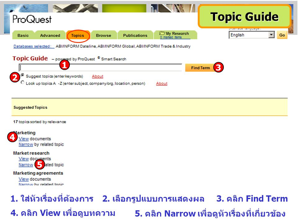 Topic Guide 3 1 2 4 5 1. ใส่หัวเรื่องที่ต้องการ2. เลือกรูปแบบการแสดงผล3. คลิก Find Term 4. คลิก View เพื่อดูบทความ 5. คลิก Narrow เพื่อดูหัวเรื่องที่เ