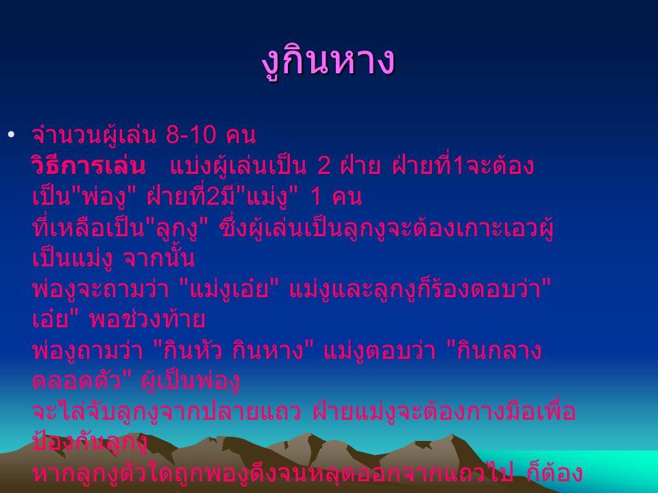 การละเล่นเด็กไทย ด. ญ. มินตรา บุตระ เลขที่ 31 ม. 2/5 ด. ญ. ชลธิชา สุ่มลาย เลขที่ 36 ม.2/5