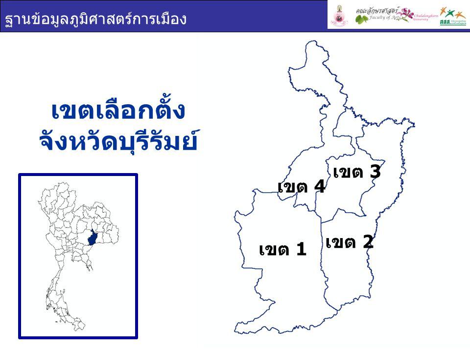เขตเลือกตั้ง จังหวัดบุรีรัมย์ ฐานข้อมูลภูมิศาสตร์การเมือง เขต 1 เขต 2 เขต 3 เขต 4