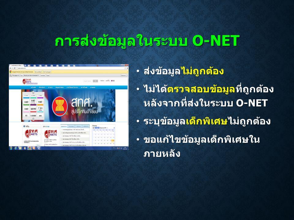 การส่งข้อมูลในระบบ O-NET • ส่งข้อมูลไม่ถูกต้อง • ไม่ได้ตรวจสอบข้อมูลที่ถูกต้อง หลังจากที่ส่งในระบบ O-NET • ระบุข้อมูลเด็กพิเศษไม่ถูกต้อง • ขอแก้ไขข้อม