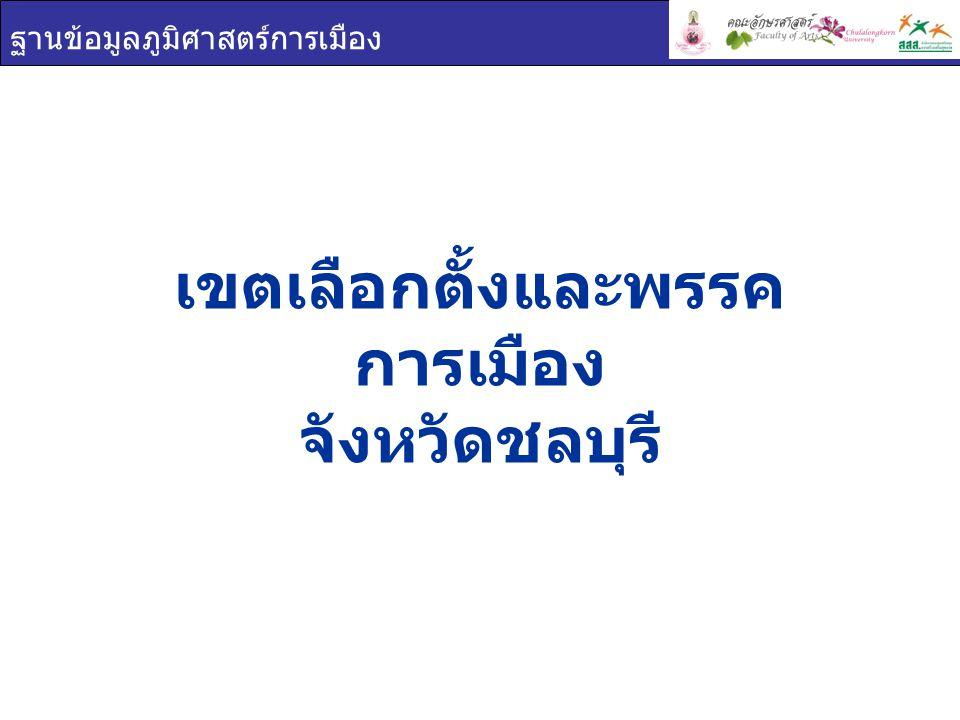 ฐานข้อมูลภูมิศาสตร์การเมือง เขตเลือกตั้งและพรรค การเมือง จังหวัดชลบุรี