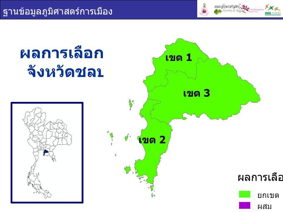 ฐานข้อมูลภูมิศาสตร์การเมือง ผลการเลือกตั้ง จังหวัดชลบุรี ยกเขต ผสม ผลการเลือกตั้ง เขต 1 เขต 2 เขต 3