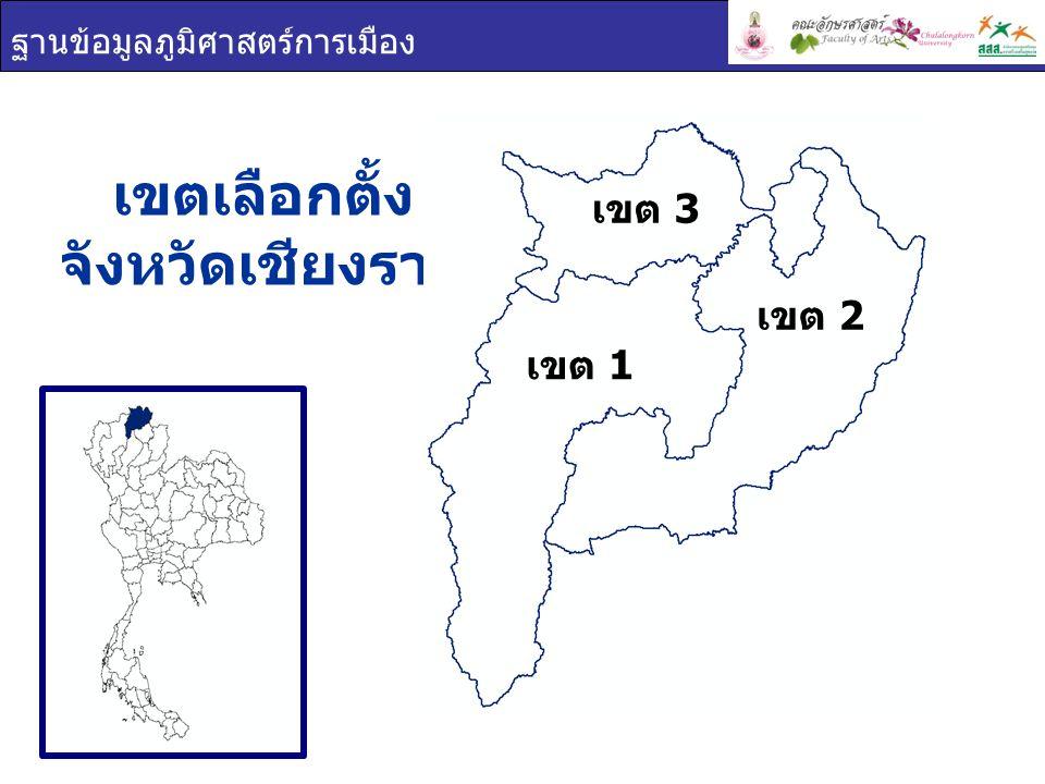 ฐานข้อมูลภูมิศาสตร์การเมือง เขตผู้มีสิทธิเลือกตั้งผู้ใช้สิทธิเลือกตั้งร้อยละผู้ใช้สิทธิ เลือกตั้ง เชียงราย 819,440633,17077.27 เขต 1 305,877245,85480.38 เขต 2 340,847255,85875.07 เขต 3 172,716131,45876.11 การใช้สิทธิเลือกตั้ง จังหวัดเชียงราย ผู้มาใช้สิทธิเลือกตั้ง ผู้ไม่มาใช้สิทธิเลือกตั้ง ผลรวม เขต 1 เขต 2 เขต 3 77.27% 22.73%