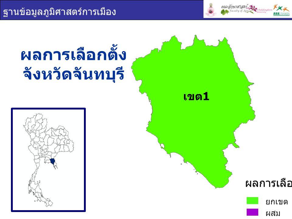 ฐานข้อมูลภูมิศาสตร์การเมือง พรรคการเมือง จังหวัดจันทบุรี ประชาธิปปัตย์ ยกเขต ผสม ผลการเลือกตั้ง เขต 1