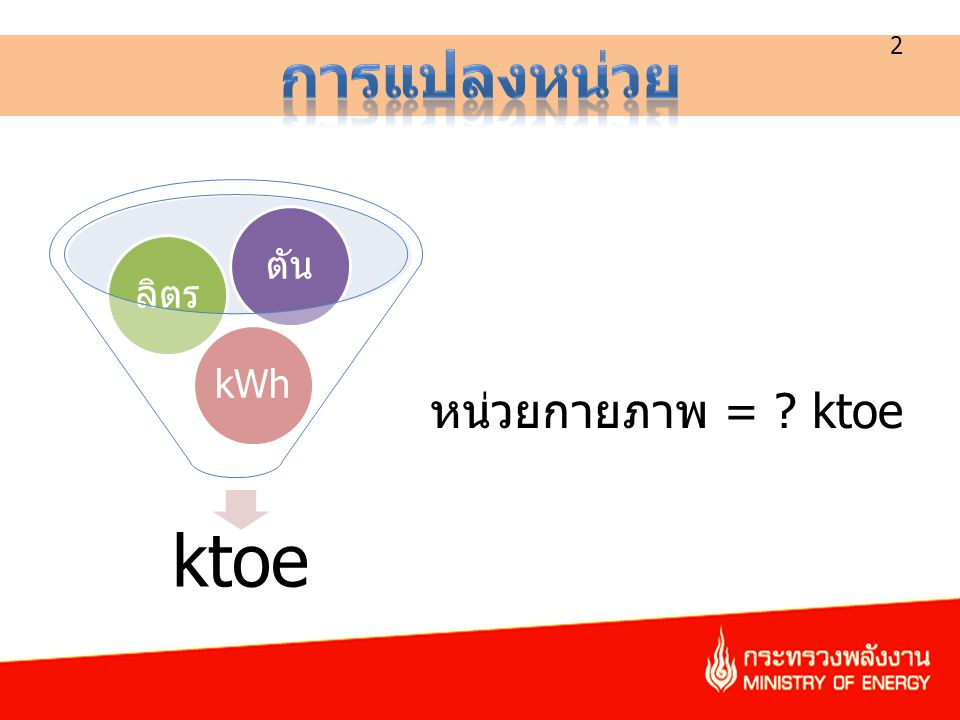 2 ktoe kWhลิตรตัน หน่วยกายภาพ = ? ktoe