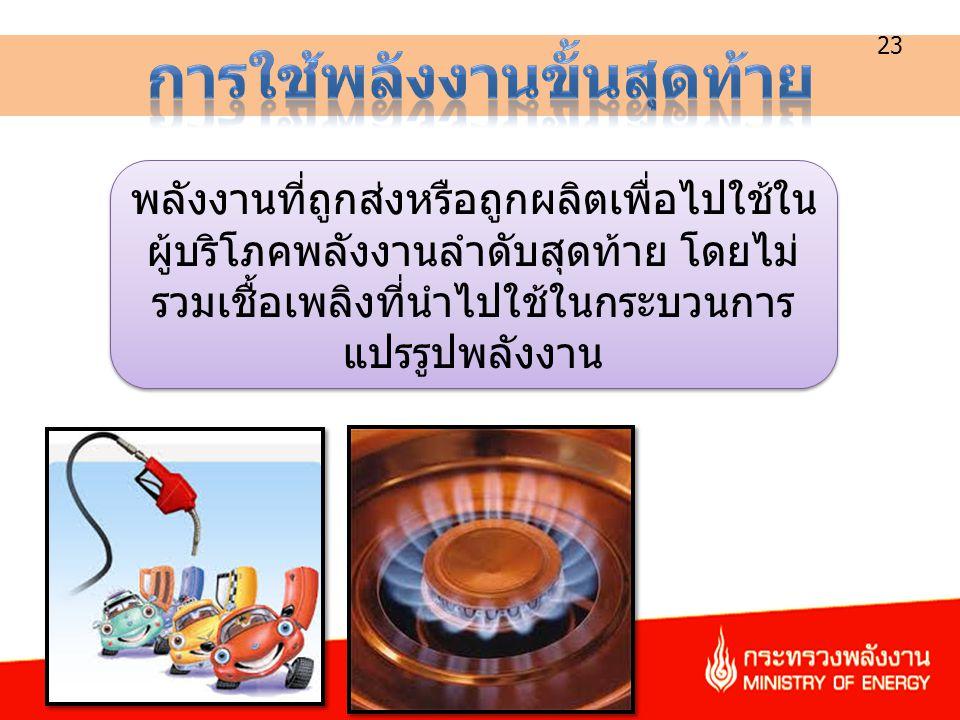 23 พลังงานที่ถูกส่งหรือถูกผลิตเพื่อไปใช้ใน ผู้บริโภคพลังงานลำดับสุดท้าย โดยไม่ รวมเชื้อเพลิงที่นำไปใช้ในกระบวนการ แปรรูปพลังงาน