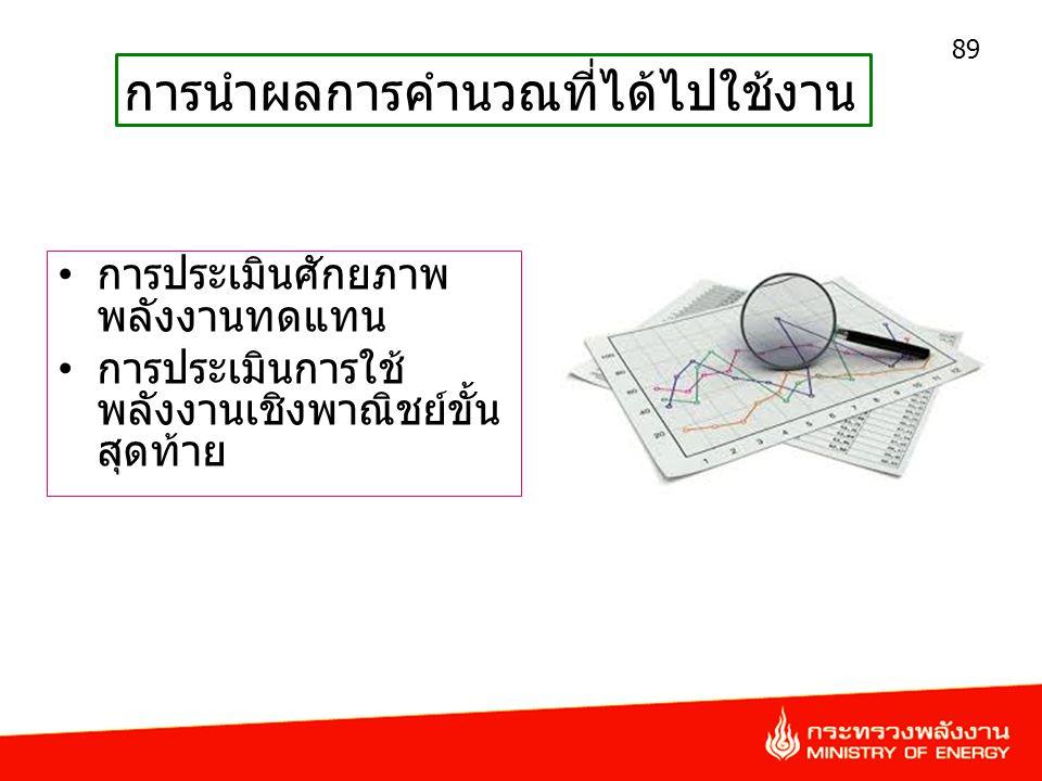 • การประเมินศักยภาพ พลังงานทดแทน • การประเมินการใช้ พลังงานเชิงพาณิชย์ขั้น สุดท้าย 89 การนำผลการคำนวณที่ได้ไปใช้งาน