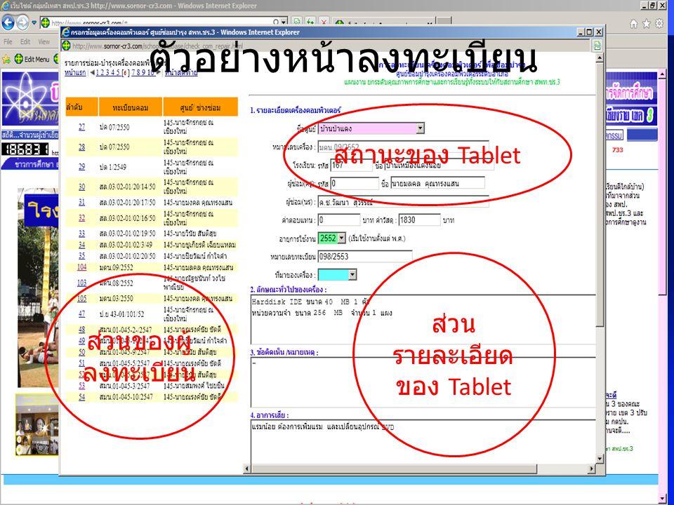 ตัวอย่างหน้าลงทะเบียน ส่วน รายละเอียด ของ Tablet ส่วนของผู้ ลงทะเบียน สถานะของ Tablet
