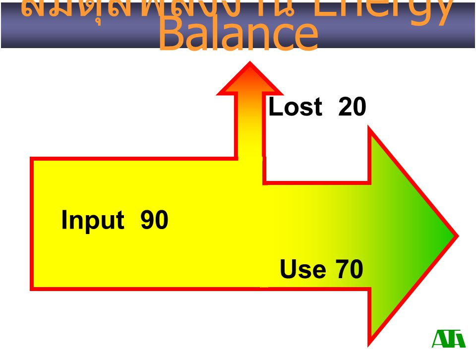 สมดุลพลังงาน Energy Balance Use 70 Input 90 Lost 20