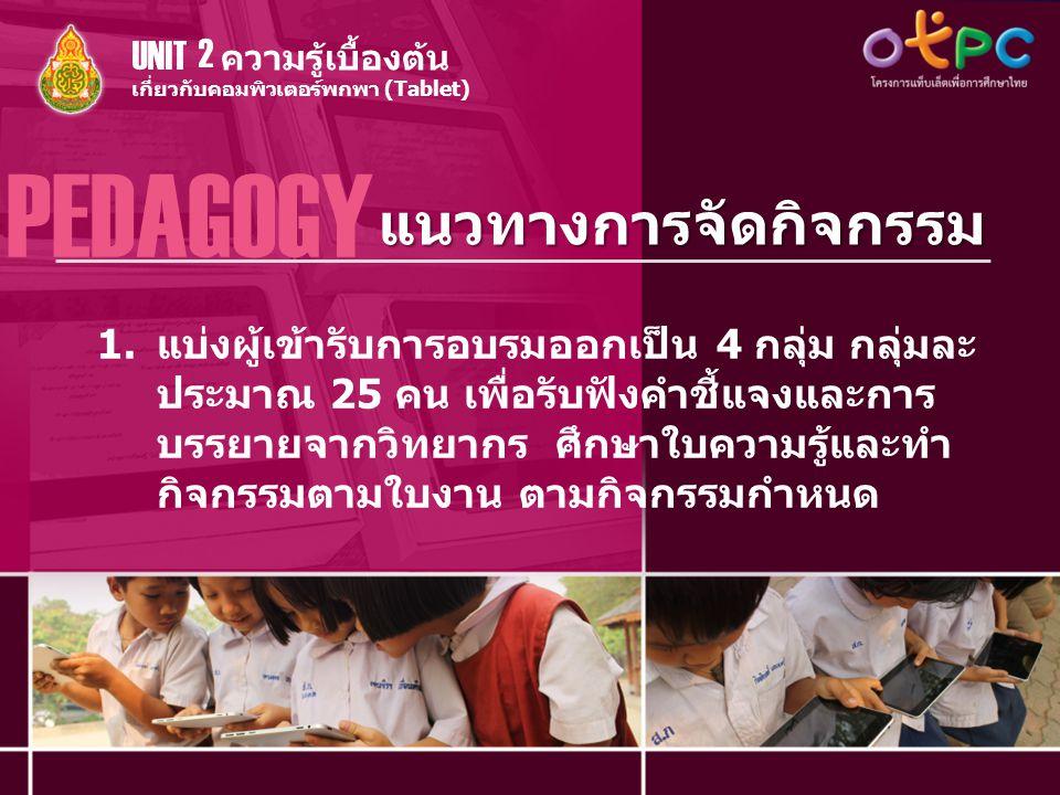 แนวทางการจัดกิจกรรม PEDAGOGY เกี่ยวกับคอมพิวเตอร์พกพา (Tablet) ความรู้เบื้องต้น UNIT 2 1.แบ่งผู้เข้ารับการอบรมออกเป็น 4 กลุ่ม กลุ่มละ ประมาณ 25 คน เพื