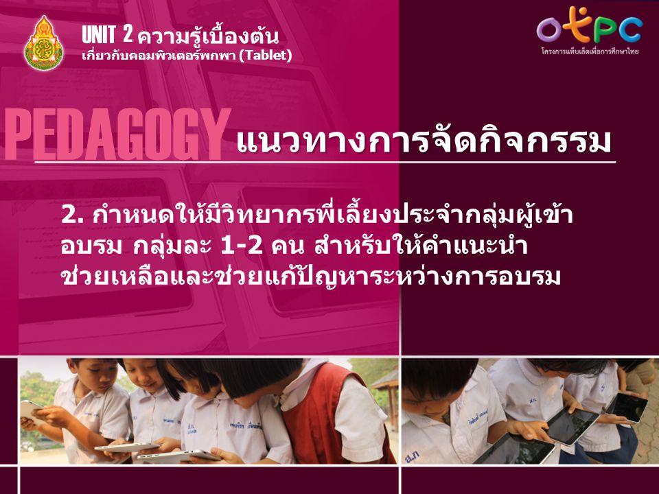 แนวทางการจัดกิจกรรม PEDAGOGY เกี่ยวกับคอมพิวเตอร์พกพา (Tablet) ความรู้เบื้องต้น UNIT 2 2. กำหนดให้มีวิทยากรพี่เลี้ยงประจำกลุ่มผู้เข้า อบรม กลุ่มละ 1-2