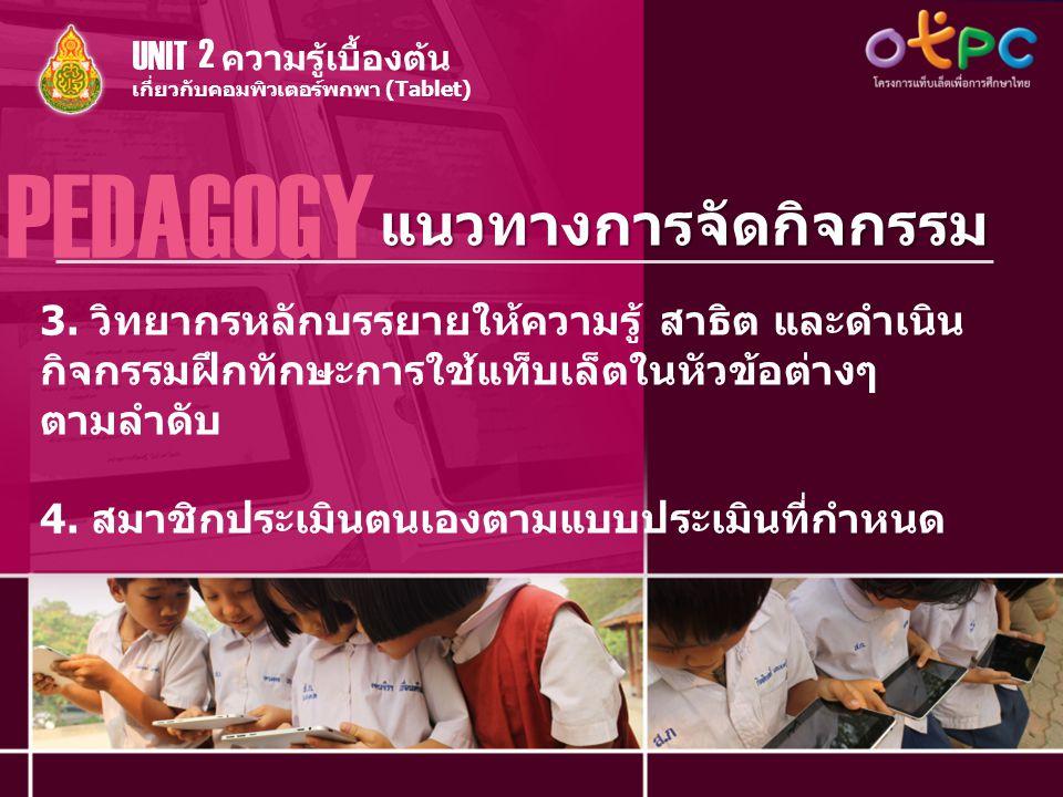 แนวทางการจัดกิจกรรม PEDAGOGY เกี่ยวกับคอมพิวเตอร์พกพา (Tablet) ความรู้เบื้องต้น UNIT 2 3. วิทยากรหลักบรรยายให้ความรู้ สาธิต และดำเนิน กิจกรรมฝึกทักษะก