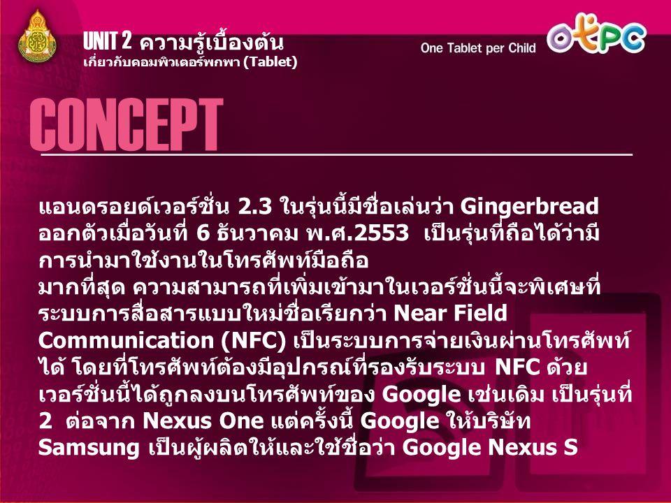 UNIT 2 ความรู้เบื้องต้น CONCEPT เกี่ยวกับคอมพิวเตอร์พกพา (Tablet) แอนดรอยด์เวอร์ชั่น 2.3 ในรุ่นนี้มีชื่อเล่นว่า Gingerbread ออกตัวเมื่อวันที่ 6 ธันวาค