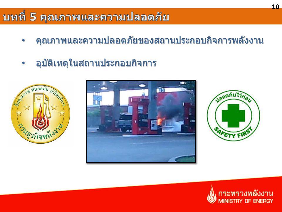 • คุณภาพและความปลอดภัยของสถานประกอบกิจการพลังงาน • อุบัติเหตุในสถานประกอบกิจการ 10