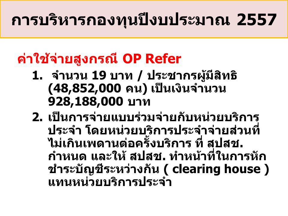 ค่าใช้จ่ายสูงกรณี OP Refer 1. จำนวน 19 บาท / ประชากรผู้มีสิทธิ (48,852,000 คน) เป็นเงินจำนวน 928,188,000 บาท 2.เป็นการจ่ายแบบร่วมจ่ายกับหน่วยบริการ ปร