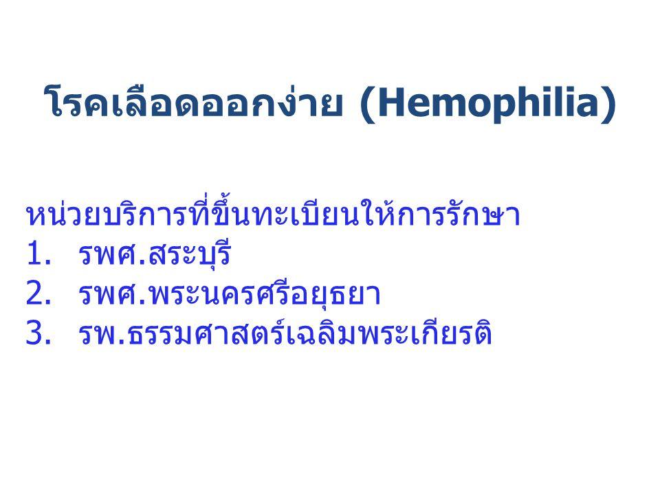โรคเลือดออกง่าย (Hemophilia) หน่วยบริการที่ขึ้นทะเบียนให้การรักษา 1.รพศ.สระบุรี 2.รพศ.พระนครศรีอยุธยา 3.รพ.ธรรมศาสตร์เฉลิมพระเกียรติ